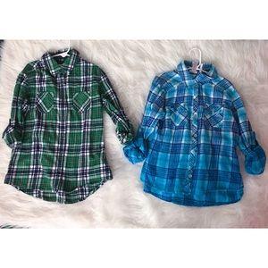Justice Bundle Button Down Flannel Shirts